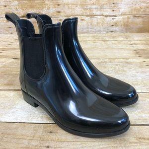 Sam Edelman Black Gloss Tinsley Chelsea Rain Boot